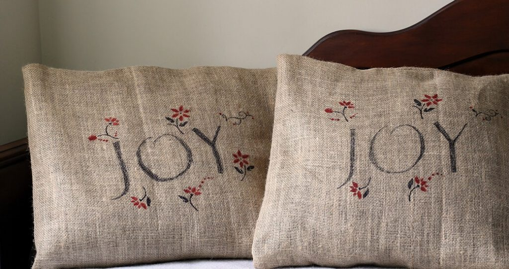 Holiday Burlap Pillow Covers