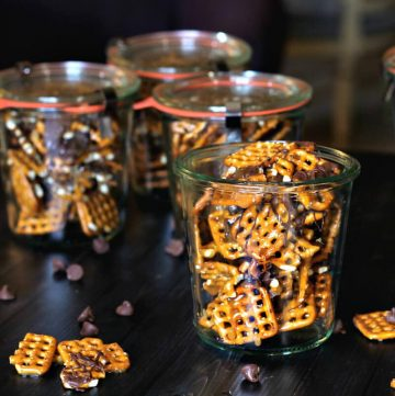 This recipe for a simple chocolate caramel pretzel treat can be made in bulk in about 1 hours. Bag it up as gifts for friends or family any time of year.