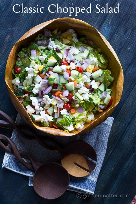 Bited Sized Pieces of Veggies, Greens, Cheese and More - Classic Chopped Salad - gardenmatter.com