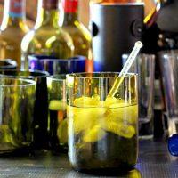Completed glasses - Making Wine Bottle Glasses - gardenmatter.com