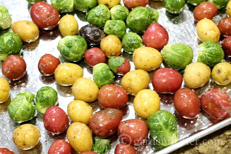 Cover with EVOO & Salt - Roasted Brusell Sprouts and Baby Potatoes - gardenmatter.com