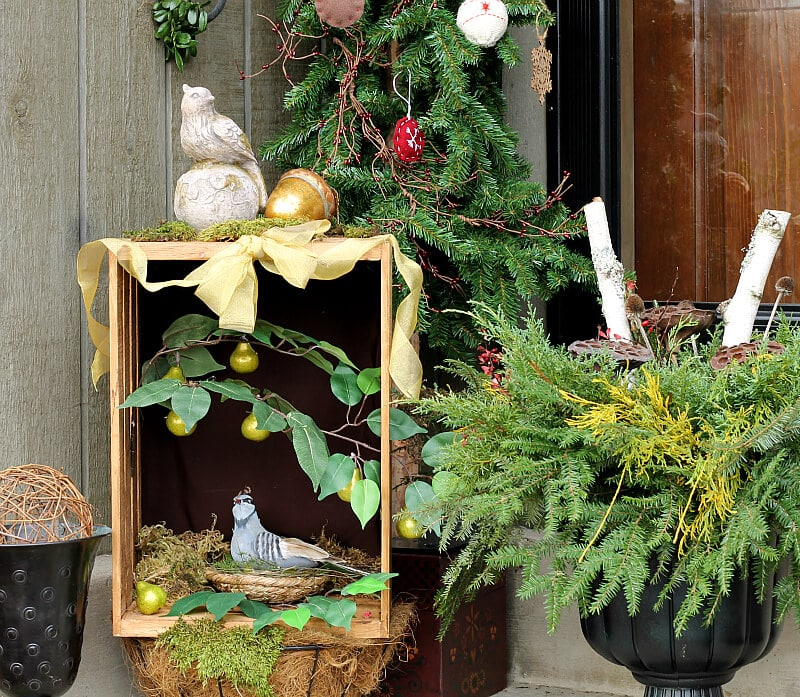 This partridge in a pear tree shadow box was created for a holiday crate challenge. 10 bloggers purchased the same crate and decorated it for the holidays.