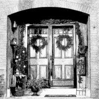 Custom Christmas Card -Front Door Sketch- gardenmatter.com