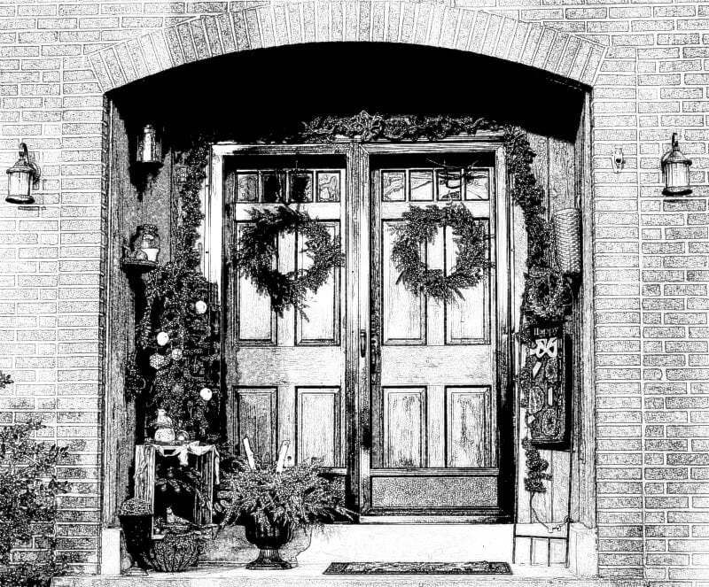Custom Christmas Card -Front Door Sketch- gardenmatter.com