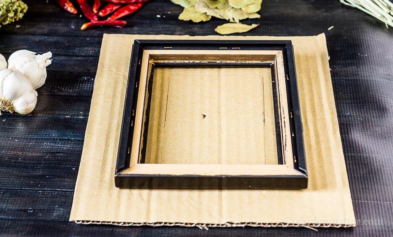 Cutting cardboard backing ~ Kitchen Spice Wreath ~ gardenmatter.com