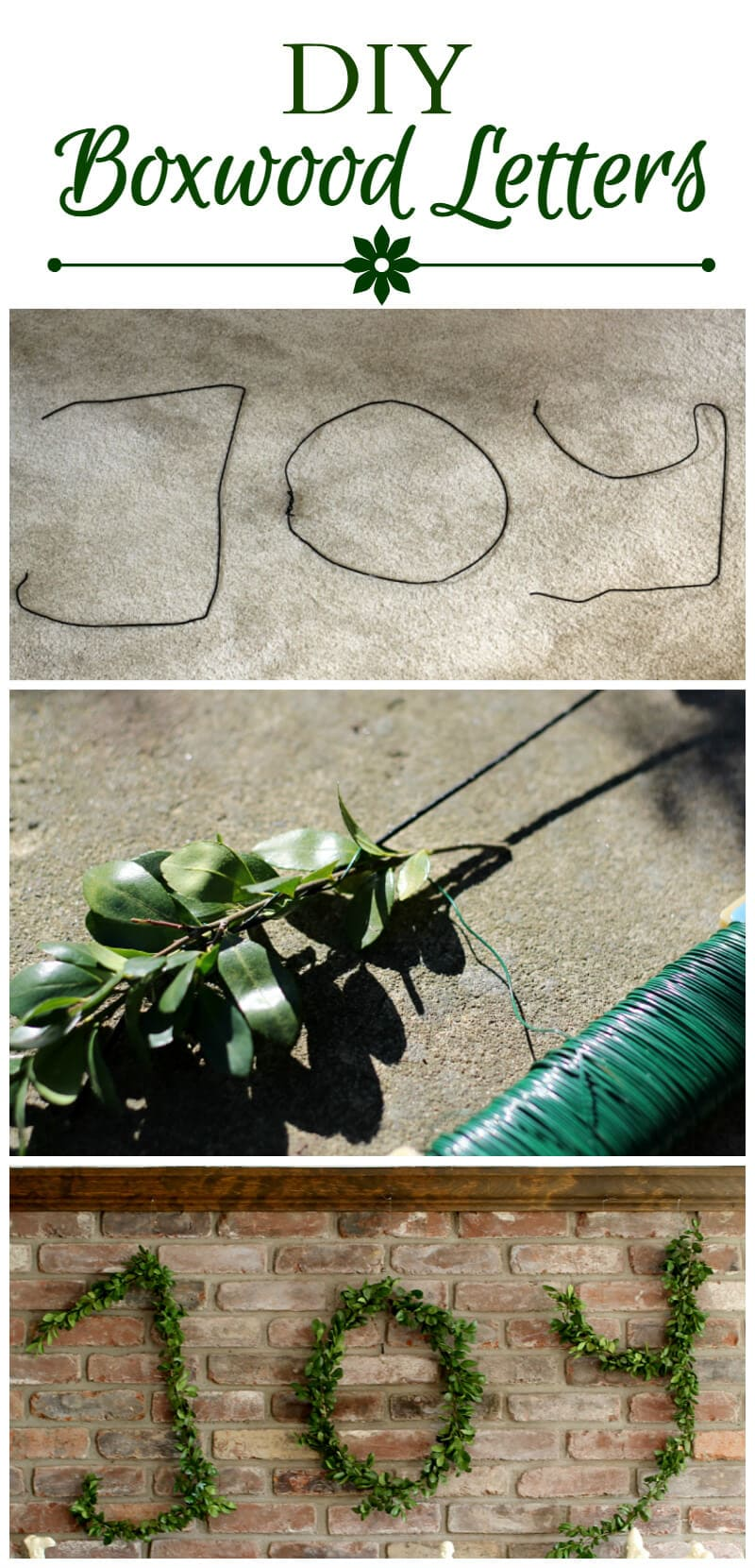 Grouped images showing how to make wire hanger boxwood letters ~ gardenmatter.com