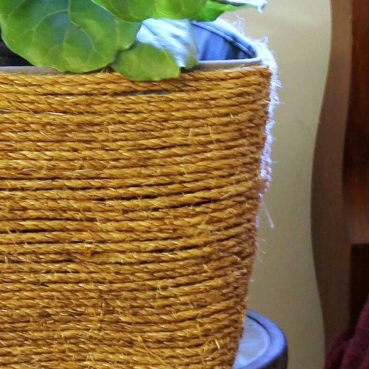 DIY Rope Basket Planter with Natural Sisal Rope