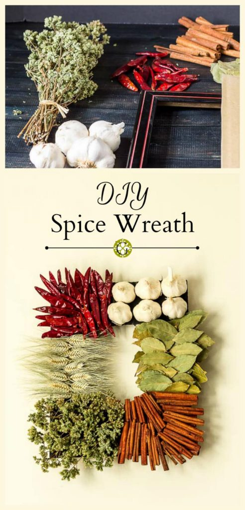 Here's an easy tutorial that shows you how to make a diy spice wreath for your kitchen using a variety of herbs and spices.