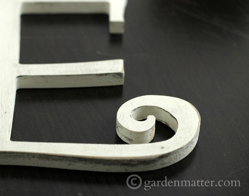 Distressed Letter E ~gardenmatter.com