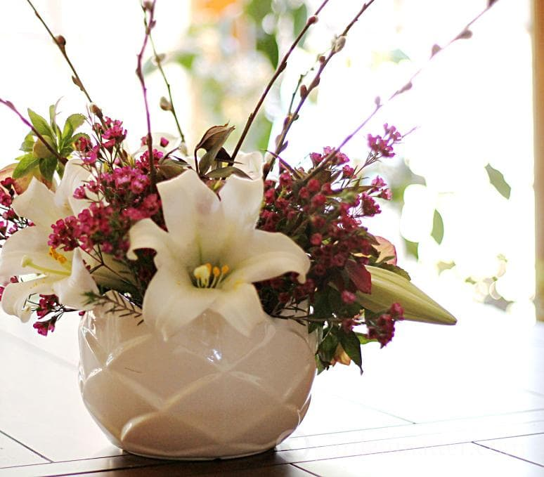 Easter Lily Centerpiece indoor ~ Easter Lilies ~ gardenmatter.com
