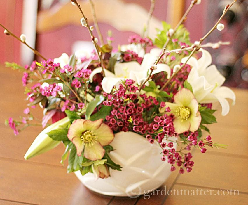 Easter Lily & Hellebores ~gardenmatter.com