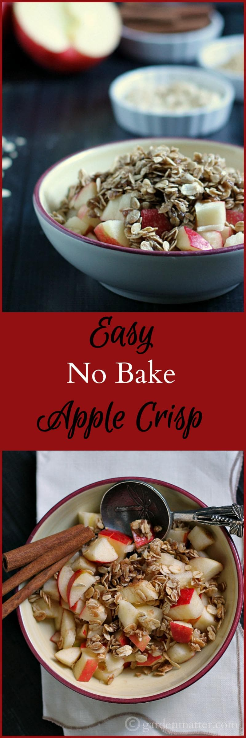 Learn how to make this simple, easy no bake apple crisp treat, that you can put together in about 5 minutes
