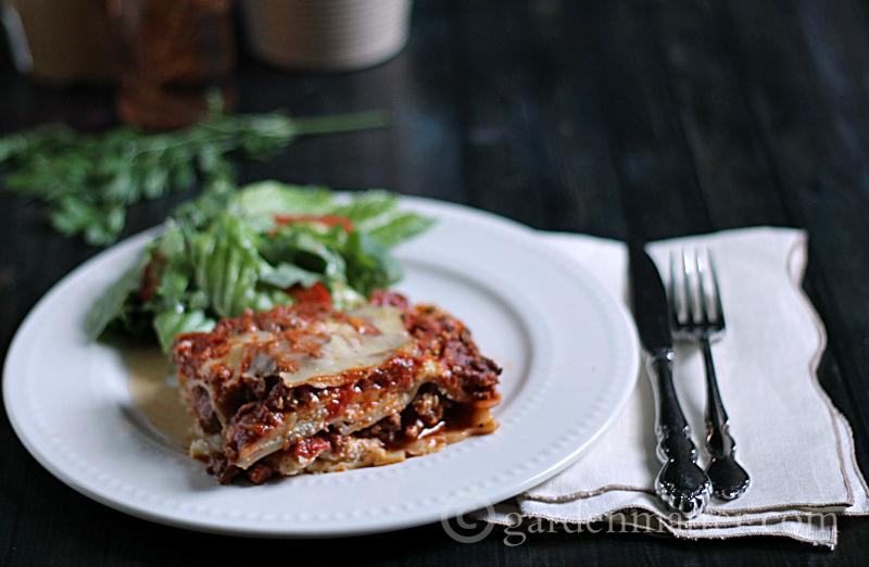 Slice of lasagna on plate