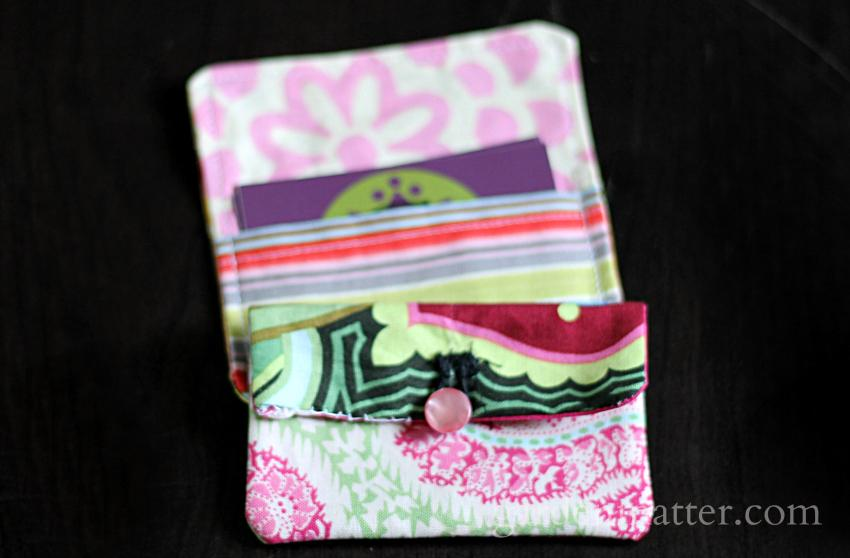 Fabric card holder project perfect for beginner sewing.