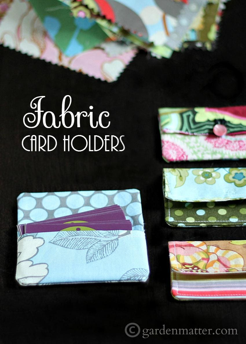 Learn how to make simple card holders from 5 in squares of coordinating fabric. Use for business cards or a gift card package.