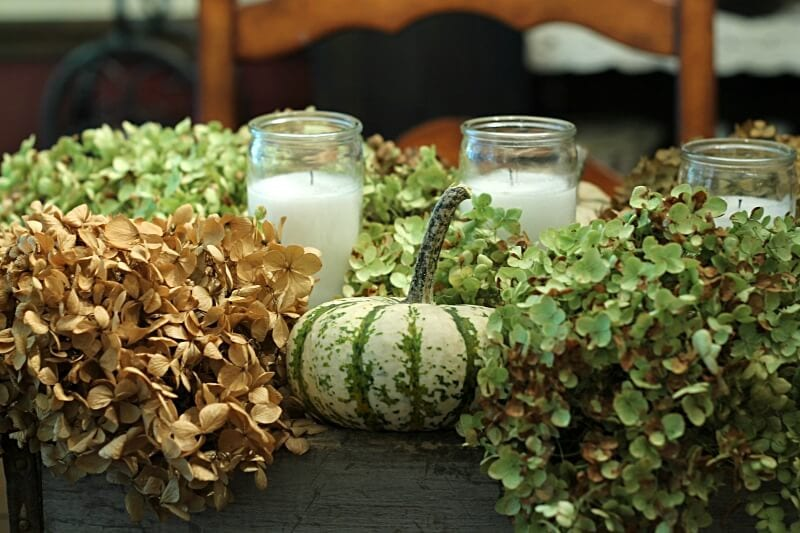 Close up of fall centerpiece with hydrangea flowers, pumpkins and candles