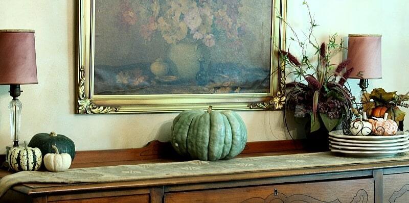 Dining room buffet with blue hubbard pumpkin