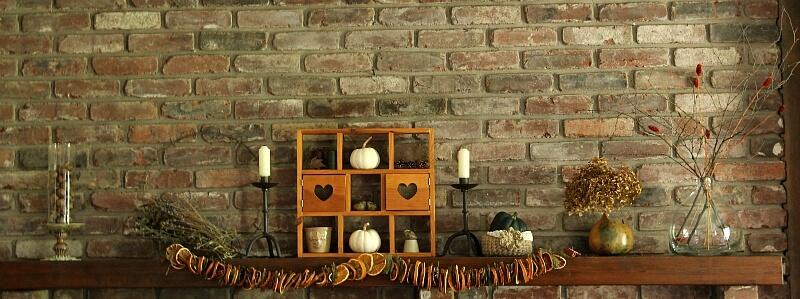 Fall mantel orange garland
