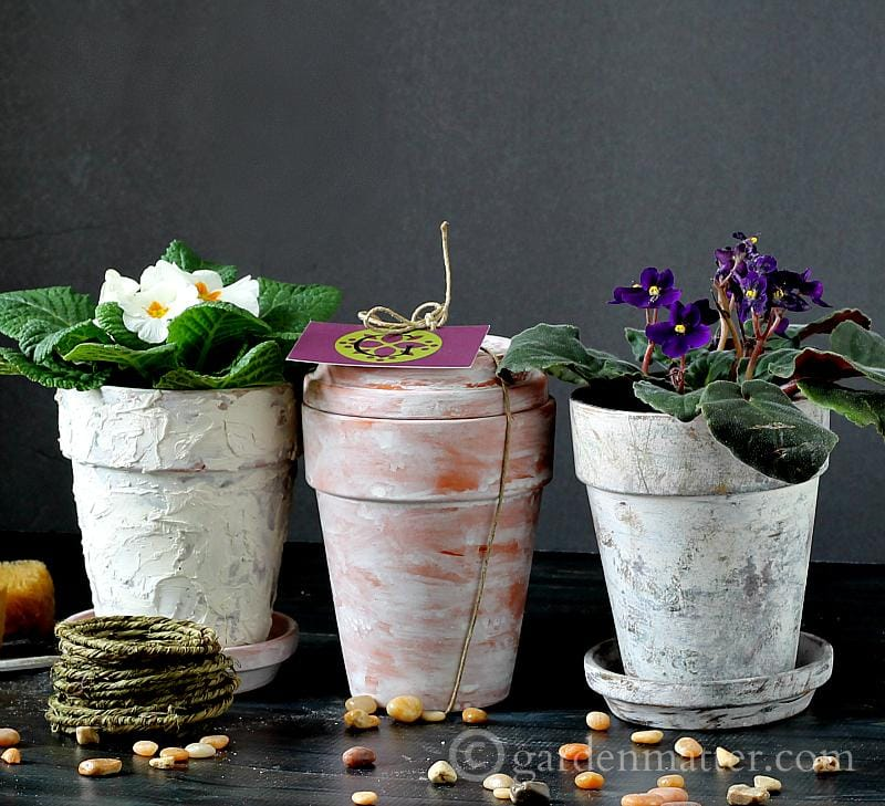 Faux aged pots 3 ways - gardenmatter.com