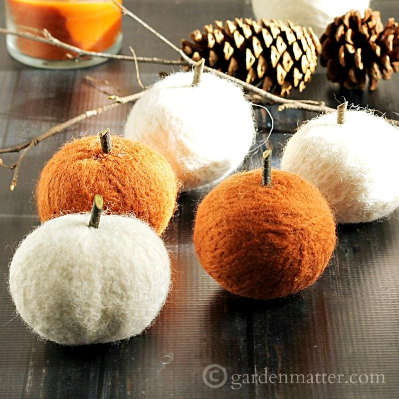 DIY Felted Dryer Ball Pumpkins