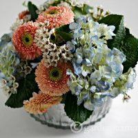 Flower Arrangement in Mercury Glass Bowl ~ gardenmatter.com