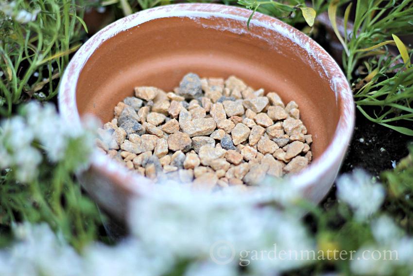 Gravel in Pot ~ Flower Pot Centerpiece ~ gardenmatter.com