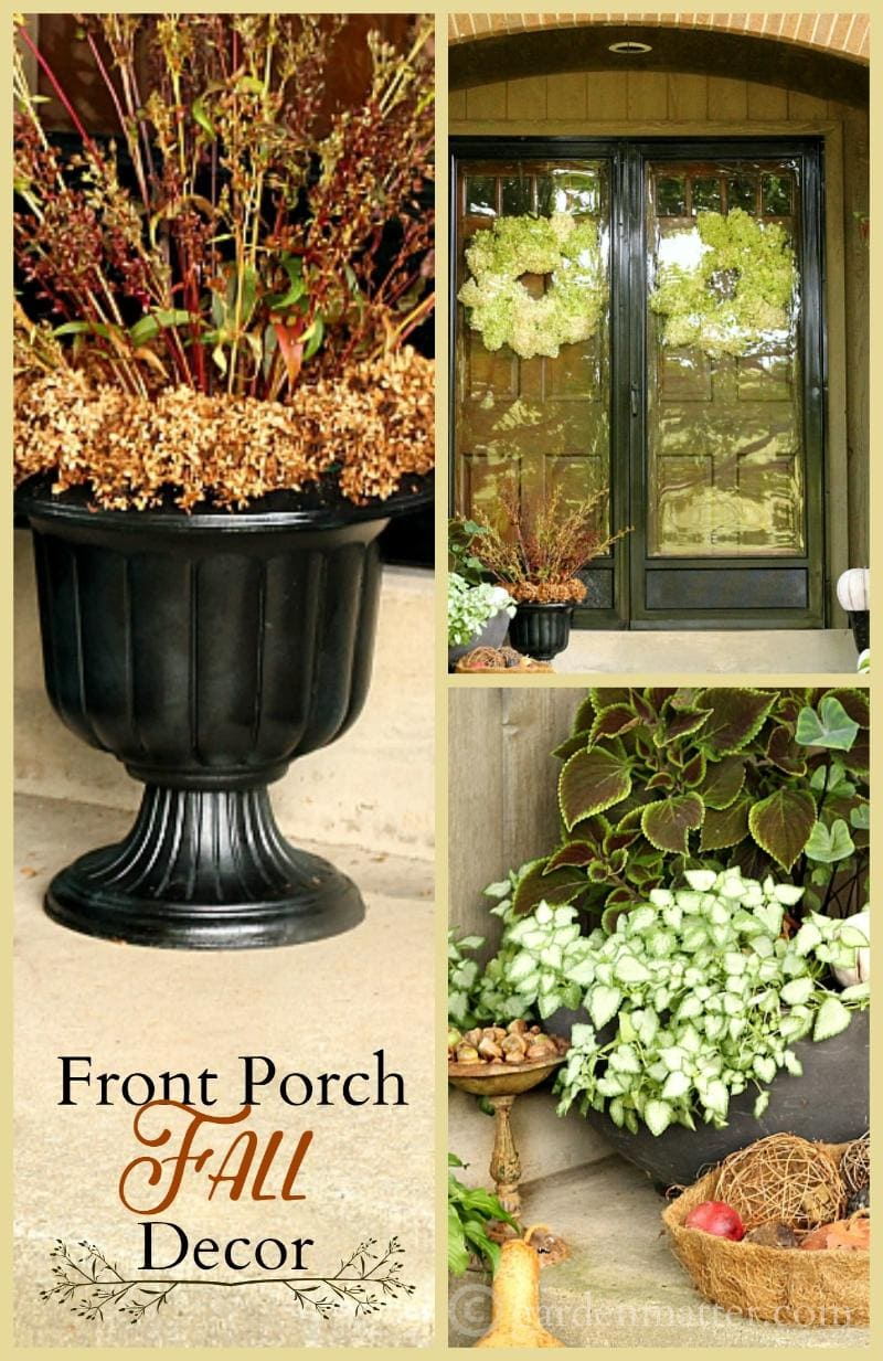 Front porch fall decor collage