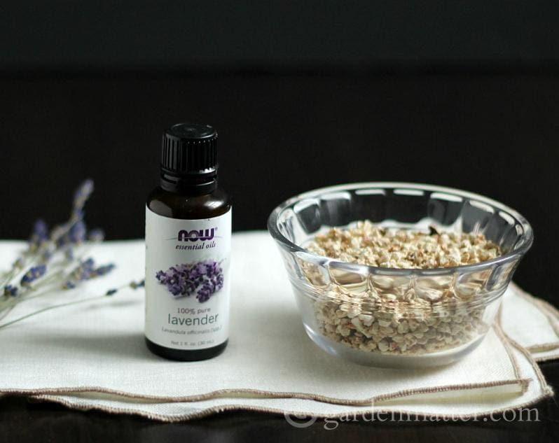 Lavender essential oil and cellulose fiber