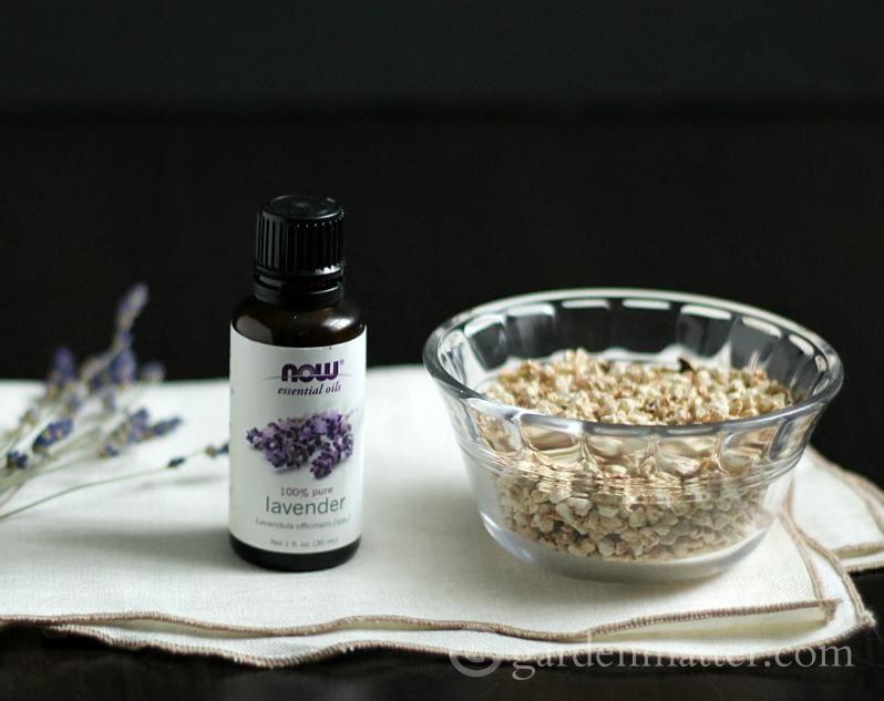 Lavender essential oil and cellulose fiber
