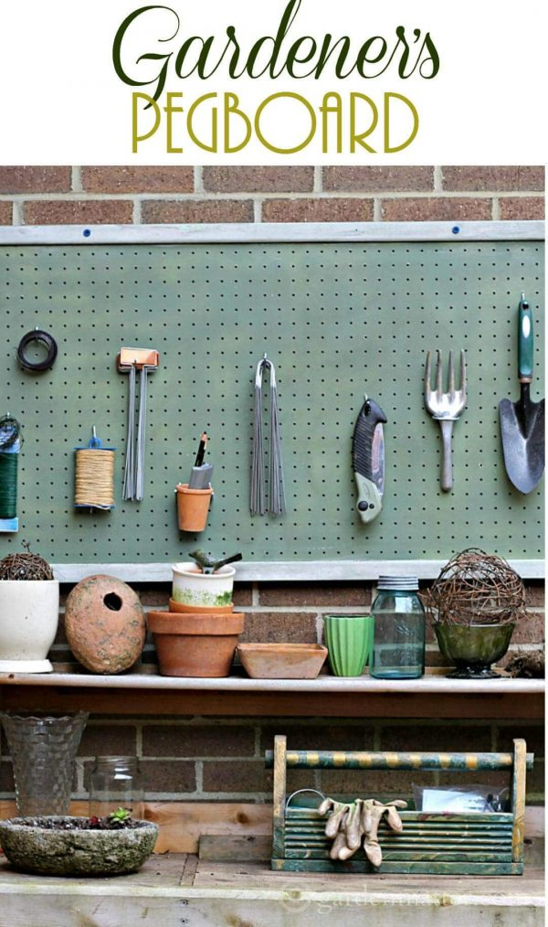 Gardener's pegboard made near a potting bench with tools and supplies