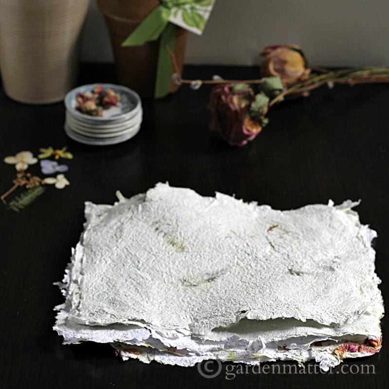 DIY Handmade Paper with Pressed flowers
