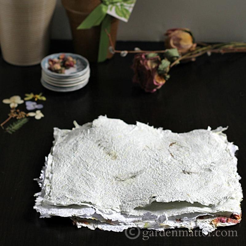 DIY Handmade Paper with Pressed flowers