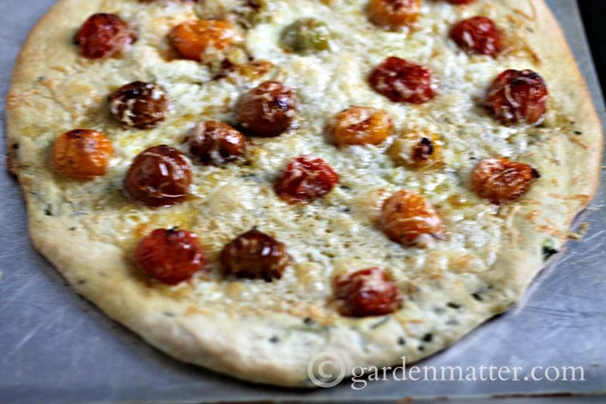 Herb Infused White Pizza ~gardenmatter.com