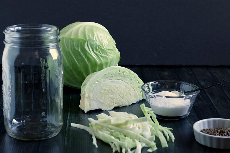 Homemade Sauerkraut with Cabbage and Salt