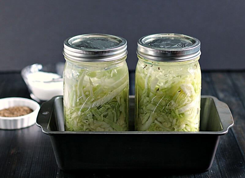 Sauerkraut in a Mason Jars in bread pans