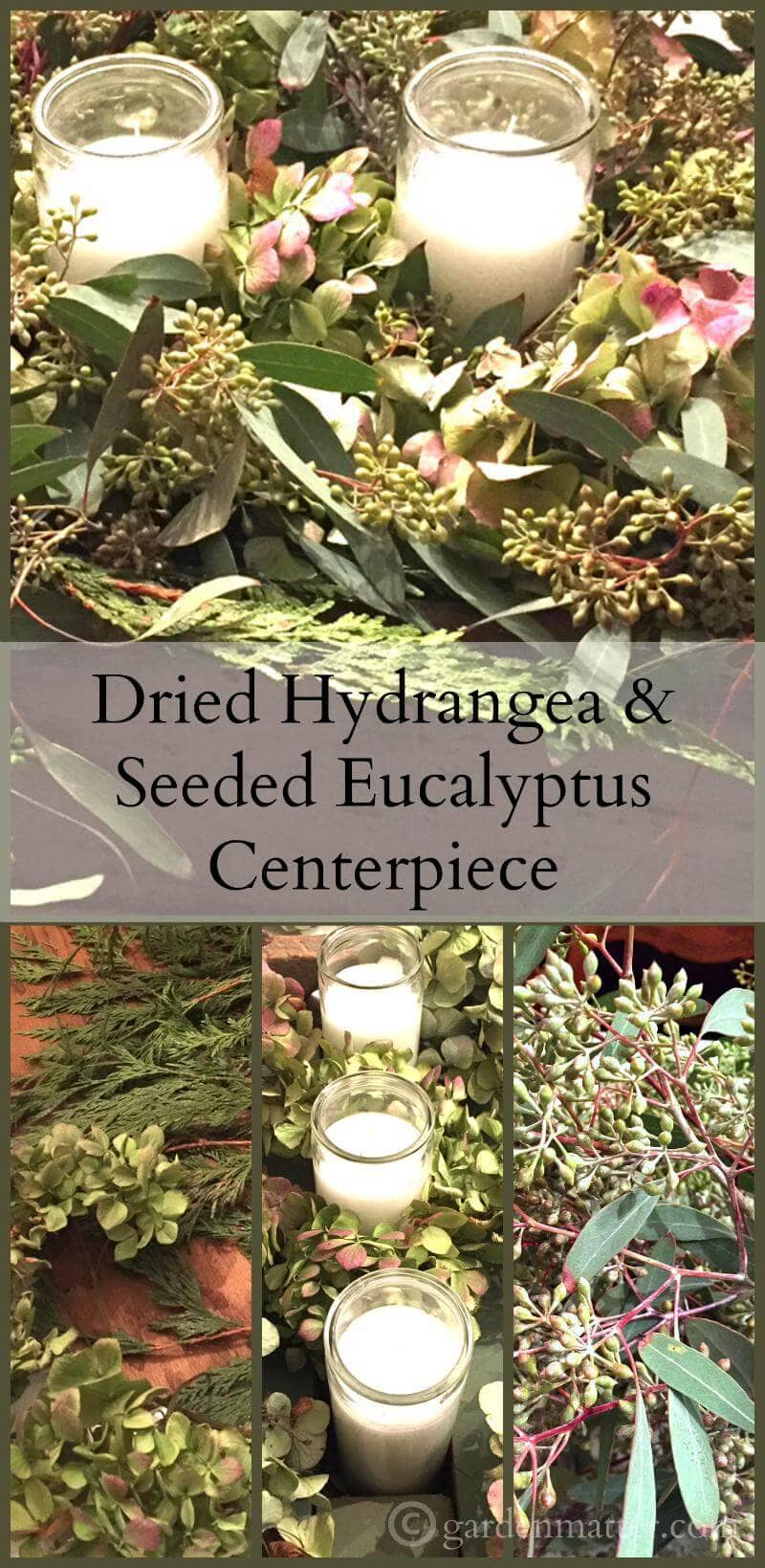 Put together a beautiful centerpiece with an old rustic box filled with candles, dried hydrangea, ceder and seeded eucalyptus.