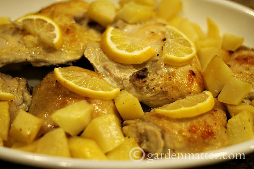 Lemon and Garlic Roasted Chicken with Potatoes
