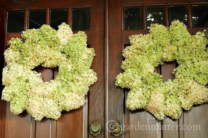 Double set of limelight hydrangea wreaths on front doors.