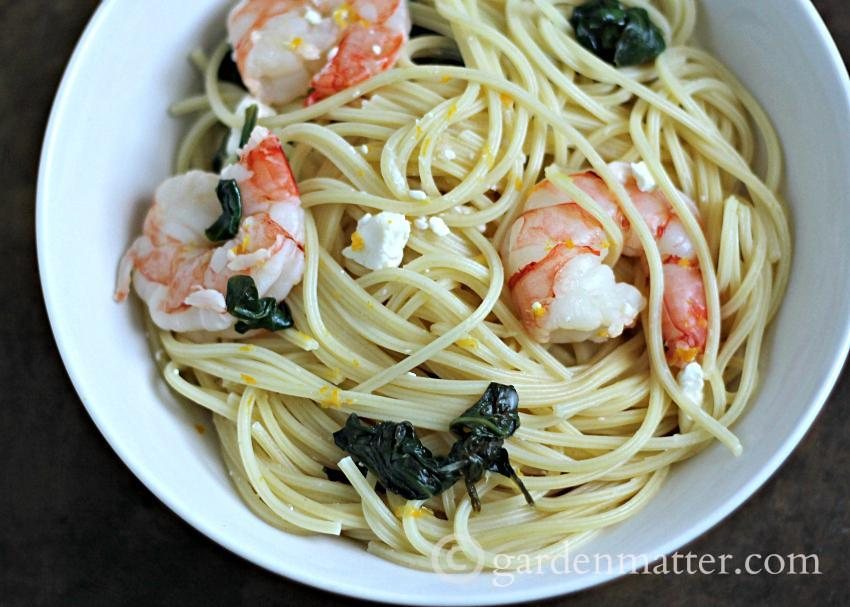 Meyer Lemon Pasta with Shrimp, Spinach & Feta