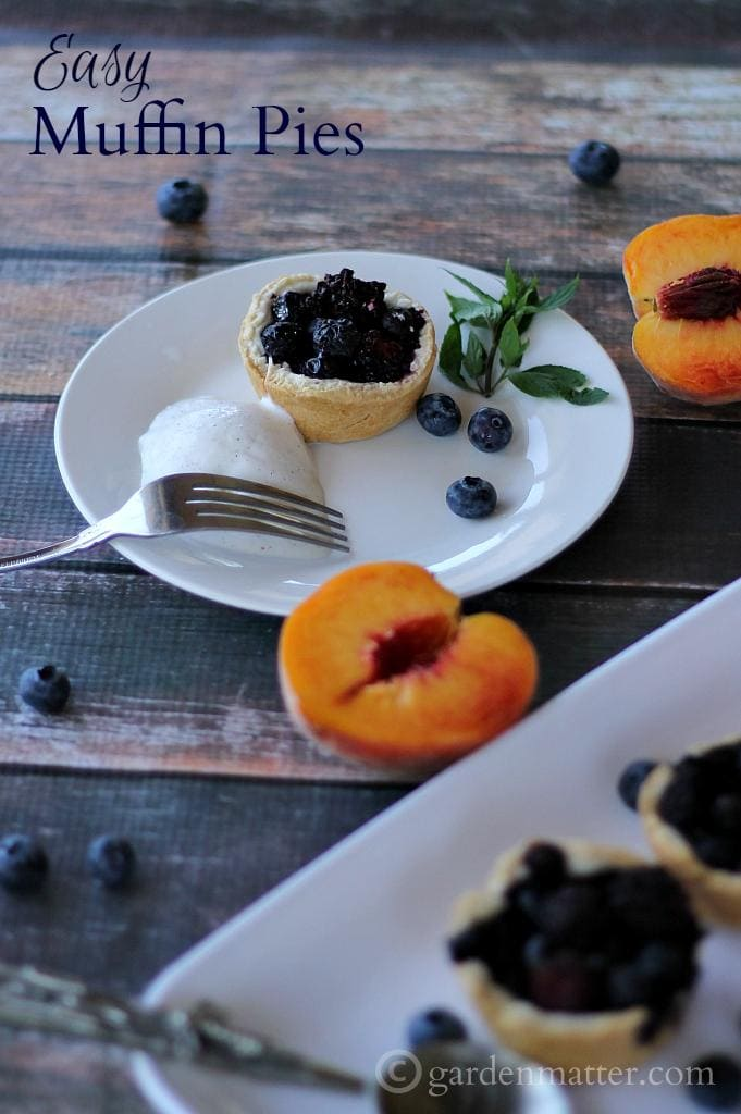 Here's a recipe for Quick and Easy Muffin Pies made with pre-made pie crust and fresh fruit.