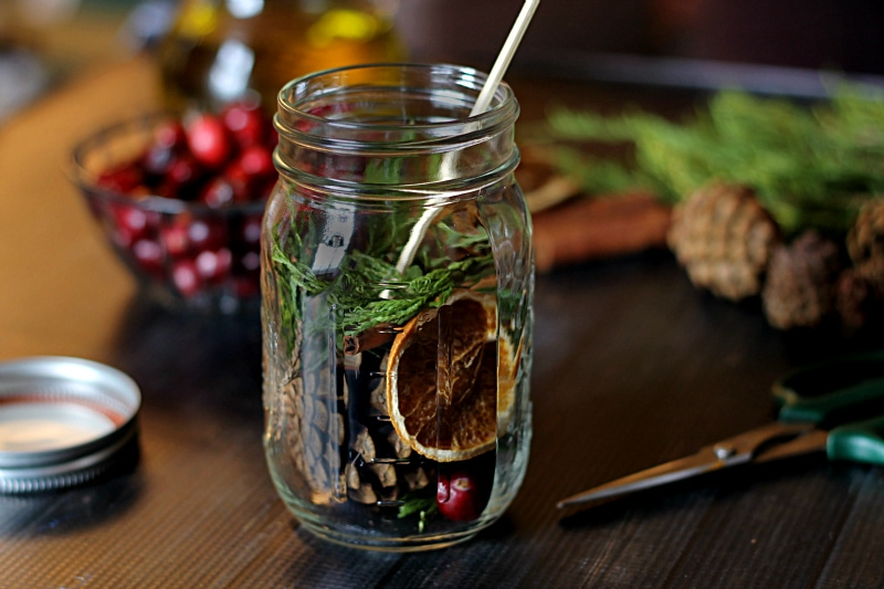 Mason jar filled with botanicals