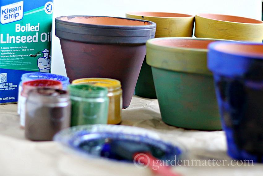 Painted Pigment Pots Materials ~gardenmatter.com