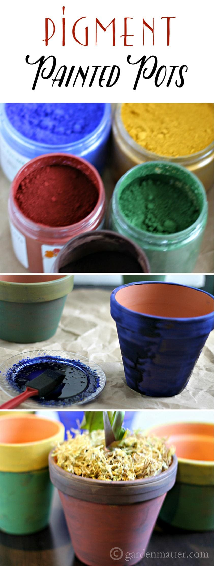 Learn about painted pots using linseed oil and natural non-toxic pigment powder on your terra cotta pots. They age really well and create a nice patina.