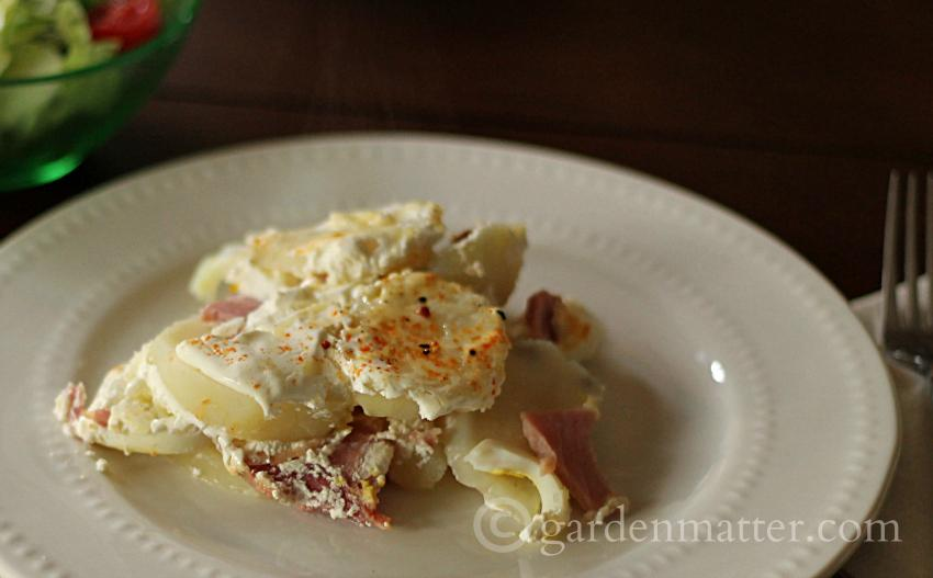 Potato Egg and Ham Casserole on plate