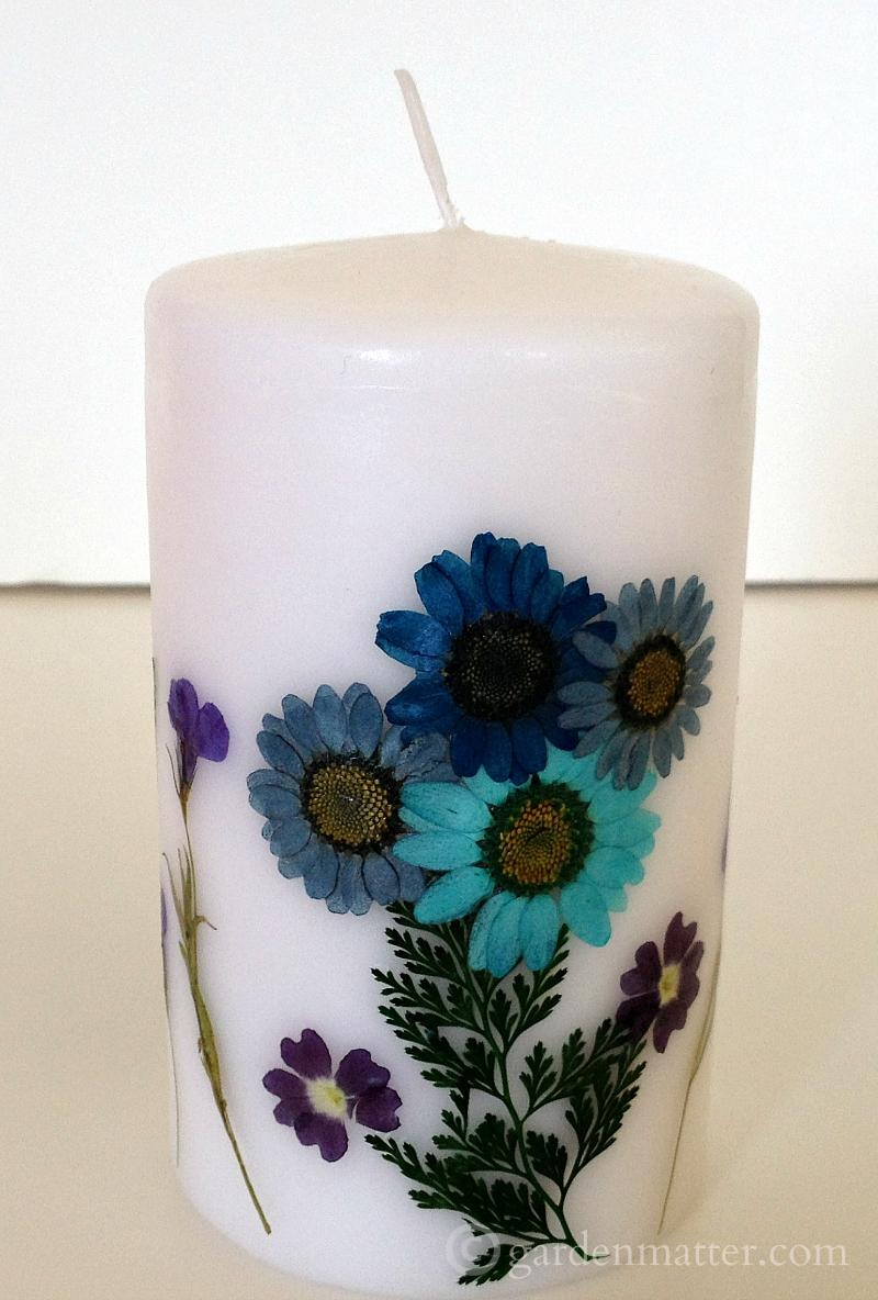 Pressed flower candle.