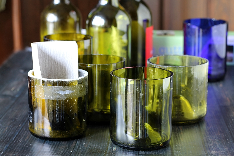 Running cold water on scored line - Making Wine Bottle Glasses - gardenmatter.com