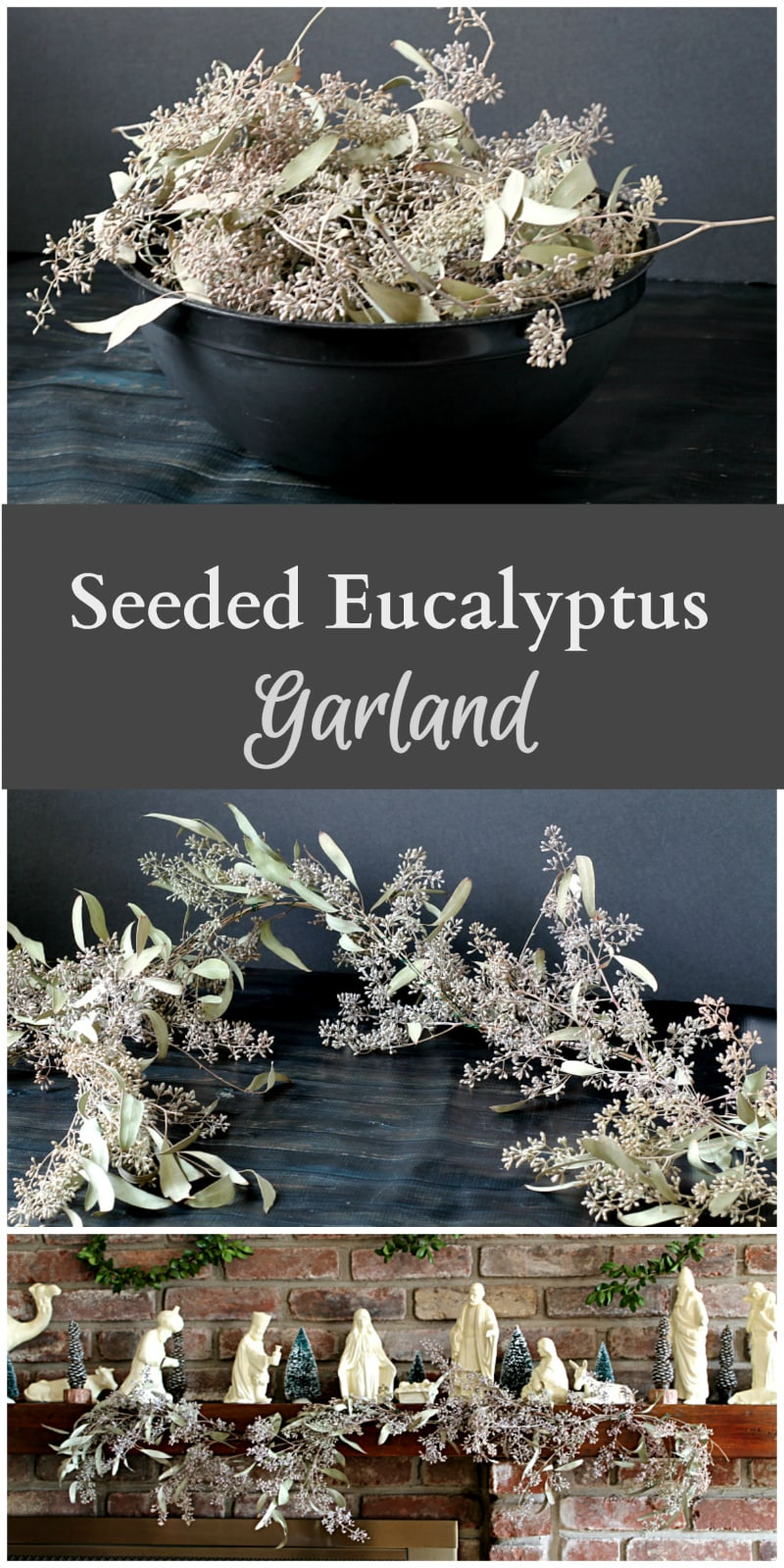 Seeded eucalyptus garland collage