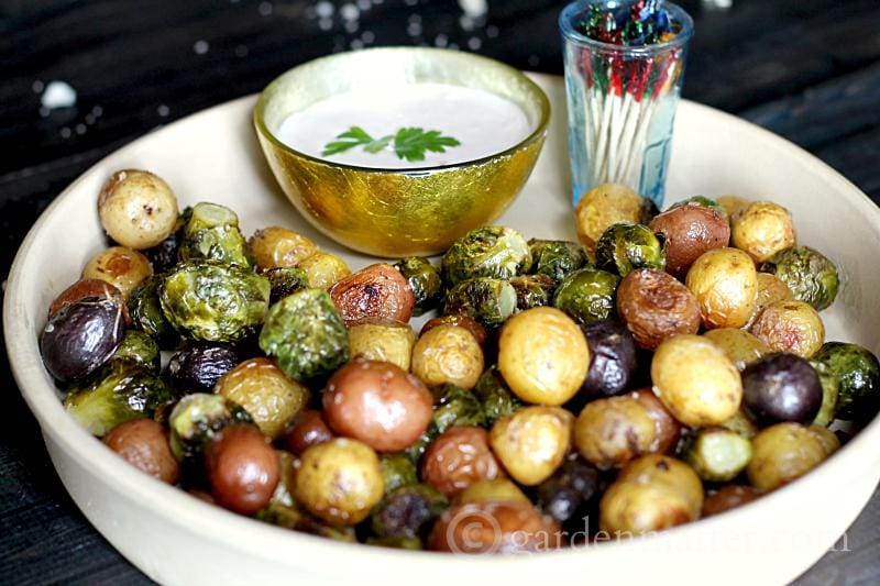 Served with Blue Cheese Dip - Roasted Brussel Sprouts and Baby Potatoes - gardenmatter.com