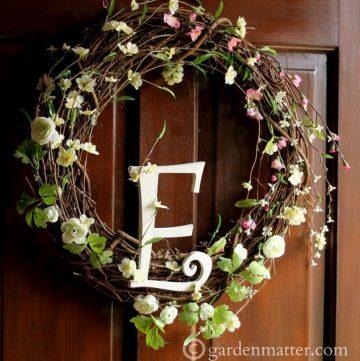 Spring Wreath E on Wood Door