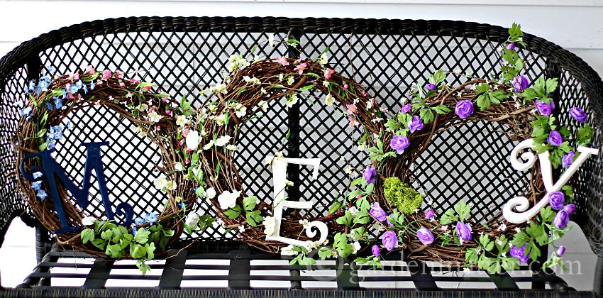 Monogram Spring Wreaths ~gardenmatter.com